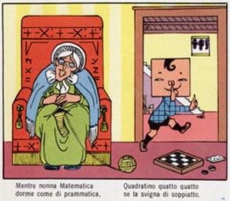 Text comics -  Quadratino (1910) by Italian artist Antonio Rubino is an example of a text comic.