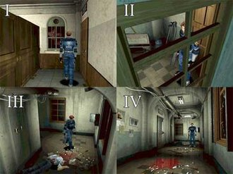 Virtual camera system -  Selection of shots in Resident Evil 2 that aim at creating tension.