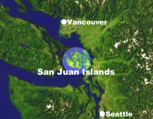 Location of the San Juan Islands