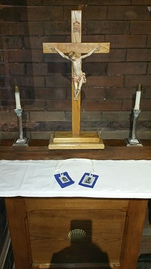 Our Lady of Walsingham - The Scapular of Our Lady of Walsingham, sitting on a bye-altar at the National Shrine of Our Lady of Walsingham in the Anglican Catholic Church