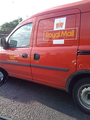 Pillar Box War - A Royal Mail van in Scotland showing the omission of the Royal Cypher