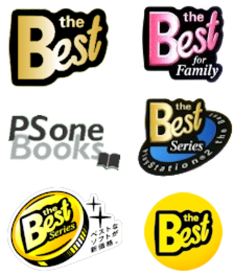 The Best (PlayStation) - Official The Best and PS one Books badges used on PlayStation game covers