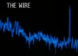 the wire the words the wire in white lettering on a black background below it