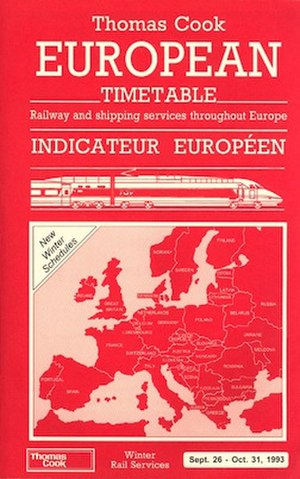 Thomas Cook European Timetable - Cover in 1993; elements of this version were in the cover design from 1988–2004