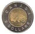 "Canadian 2 dollar coin, ""toonie"""