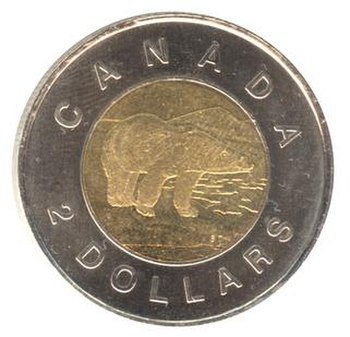 "Canadian $2 coin, nicknamed ""toonie"""