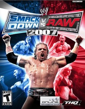 WWE SmackDown vs. Raw 2007 - PlayStation 2 NTSC cover art featuring (clockwise from top left) Rey Mysterio, John Cena, Torrie Wilson, Triple H and Batista