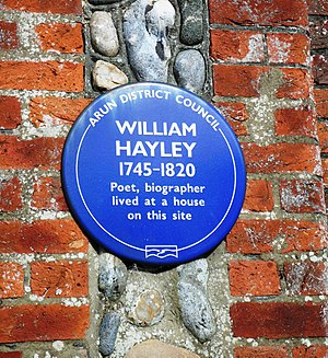 William Hayley - Plaque at site of Hayley's home in Felpham, Sussex