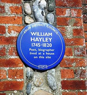 William Hayley - Plaque at site of Hayley's home in Felpham, Sussex
