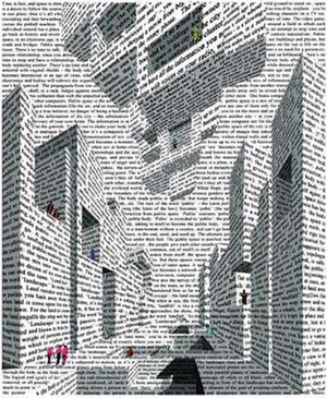 Vito Acconci - City of Words, lithograph by Acconci, 1999