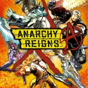 Anarchy Reigns - Cover art featuring (clockwise from upper right) Jack, Sasha, Blacker Baron, Mathilda and Leo.