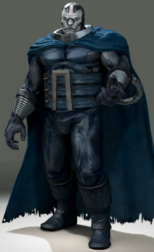 The Apocalypse that appears in the X-Men Legends 2 video game. He is presented as a stocky, pale skinned man wearing heavy, dull blue armor and a tattered blue cape.