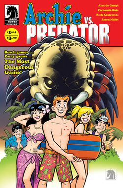 A cover to issue #1. The Predator's head looms over Archie and his friends as they prepare to swim.