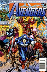 Avengers vol. 2, #11 (Sept. 1997), showing the Heroes Reborn Avengers. Cover art by Michael Ryan and Sal Regla.
