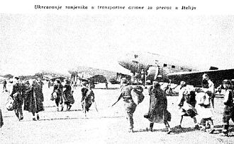 Balkan Air Force - Partisan wounded being evacuated by BAF DC-3s to Italy.