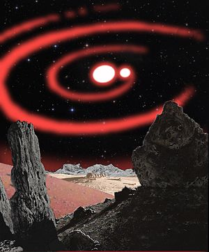Chesley Bonestell - The Beta Lyrae binary in the sky of an airless planet, after the painting by Chesley Bonestell.