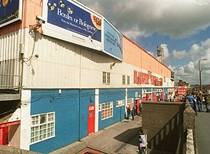 History of Blackpool F.C. (1962–present) - The second incarnation of the Bloomfield Road facade, pulled down in 2003 as a long-awaited redevelopment of the ground got underway.