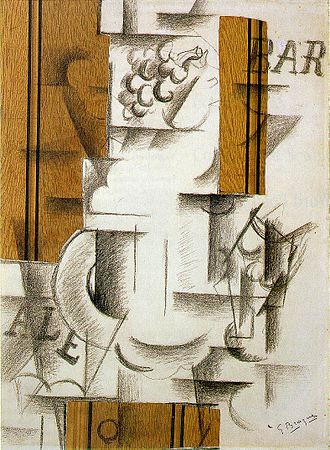 Papier collé - Fruit Dish and Glass, papier collé and charcoal on paper, 1912, by Georges Braque.