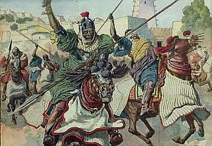 Wadai Empire - Last charge of the cavalry. Armed with spear, bow and sword, and accompanied by deafening music, Wadai's forces held to the old methods- mass cavalry charges followed by the infantry. These were insufficient against modern weapons.