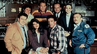 Cheers - Cast of Cheers since season six. (left to right): (top) Perlman, Woody Harrelson, Kelsey Grammer, Bebe Neuwirth; (bottom) Wendt, Kirstie Alley, Danson, Ratzenberger