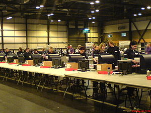 Scottish Parliament election, 2007 - Scanners counting votes in Glasgow's SECC.