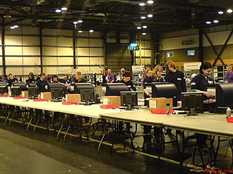 2007 Scottish Parliament election - Scanners counting votes in Glasgow's SECC.