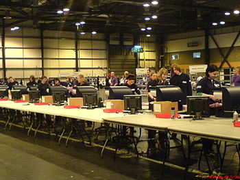 Scanners counting votes in Glasgow's SECC.