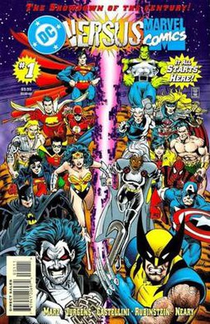 DC vs. Marvel - The cover to the first issue of DC vs. Marvel. Art by Dan Jurgens.