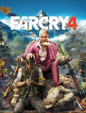 Far Cry 4 - Cover art featuring an unnamed Golden Path rebel (left) and the game's main antagonist Pagan Min (right).