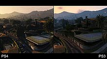 The city of Los Santos being rendered on the PlayStation 4 on the left, and the PlayStation 3 on the right. Improved texture effects, lighting and draw distances are visible on the PS4 version.