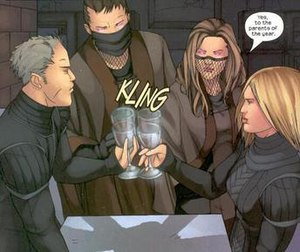 Pride (comics) - The Hayeses and the Deans conspire to kill off the rest of the Pride. From left to right, Frank Dean, Gene and Alice Hayes and Leslie Dean. Art by Adrian Alphona.