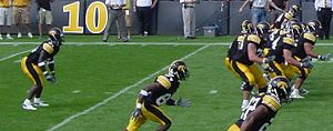 2007 Iowa Hawkeyes football team - Albert Young lines up for a play against Montana in 2006.