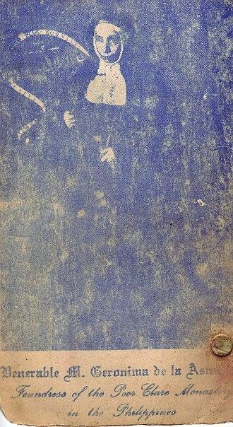 Jerónima de la Asunción - A pamphlet cover with a reproduction of Velázquez's 1620 painting of Mother Jerónima.