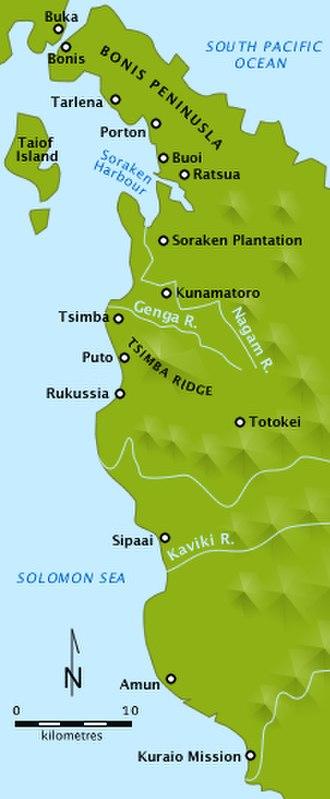 Battle of Tsimba Ridge - Image: Map nw bougainville 1945