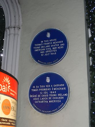Thomas Francis Meagher - Plaque commemorating Meagher's arrest at 19 The Mall, Waterford, 12 July 1848