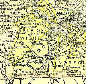 Nansemond County, Virginia - Nansemond County, now extinct,  existed in Virginia from 1646 to 1972 (from 1895 map)