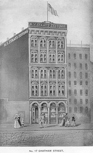 Park Row (Manhattan) - Image: New Yorker Staats Zeitung Building 1858