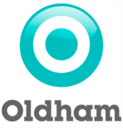 Oldham Council's corporate logo, designed in 1974 by David McRae for the new authority. This logo was replaced in 2008 as part of a rebranding exercise.[6]