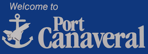 Port Canaveral welcome sign. Note the anchor a...