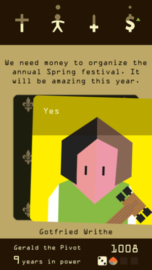 "Reigns (video game) - Screenshot showing the player accepting the suggestion from ""Gotfried Writhe"" by swiping the card to the right"