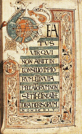 "Welsh art - The Ricemarch Psalter, c. 1080, the start of Psalm 1:""Beatus vir..."""