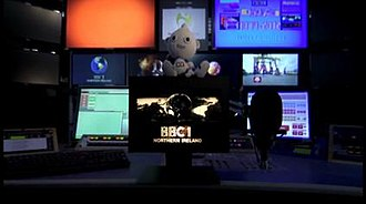 BBC One - An image of 'Digit Al' sitting on the last BBC1 mechanical ident, taken from the last analogue BBC One Northern Ireland transmission on 23 October 2012 at 23:31 GMT.