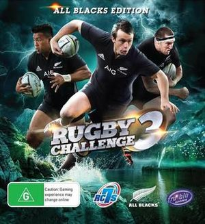 Rugby Challenge 3 - New Zealand cover art featuring the All Blacks