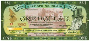 Local currency - Image: Salt Spring Island Dollar One Dollar