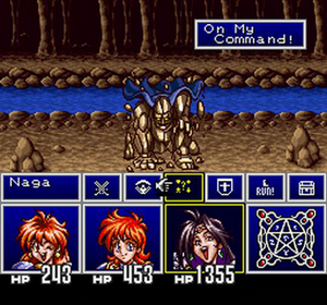 Slayers (video game) - Combat mode gameplay in Slayers for the Super Famicom (fan-translated English version)