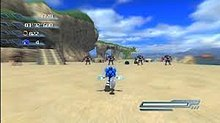 Screenshot of Wave Ocean, the first level of Sonic's campaign in Sonic the Hedgehog; this particular screen shows Sonic running at full speed while dodging obstacles. The text on the left-hand side of the screen shows the timer, the number of lives the player has, and the player's score. The meter on the right side shows how much power the player has in order to perform special abilities.