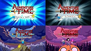 Stakes (miniseries) - A comparison of two shots from the original Adventure Time intro sequence (left) to similar shots from the Stakes intro (right).