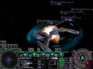 Star Trek: Deep Space Nine: Dominion Wars - Gameplay in Dominion Wars. The player is currently controlling a Federation ship under attack from several Dominion and Cardassian ships.