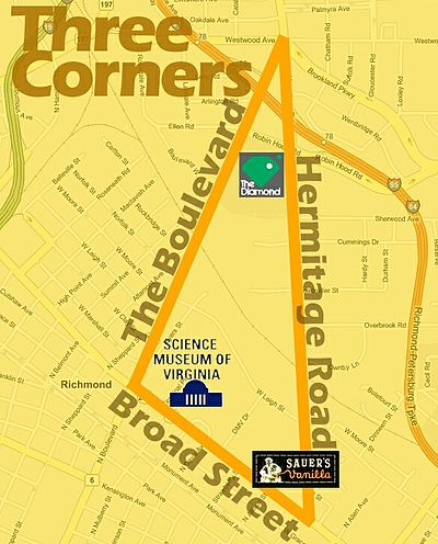 The Three Corners District of Richmond is defined by Broad St., Hermitage Rd., and The Boulevard. Threecorners.jpg