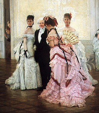"1870s in Western fashion - Bustles and elaborate drapery characterize evening dresses of the early 1870s. The gentleman wears evening dress. Detail of ""Too Early"" by Tissot, 1873"